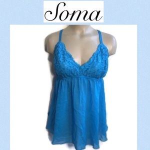 Soma Blue Lace Sheer Sleep Camisole Top XL